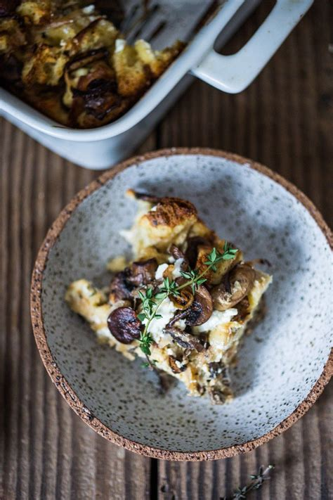 breakfast strata with mushrooms caramelized onions goat