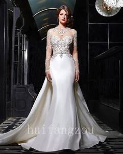 Wedding dresses detachable train bridal gowns long sleeves for Ebay wedding dresses size 8
