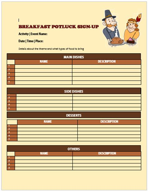 13+ Charming Breakfast Potluck Sign Up Sheets  Free Word