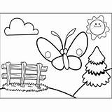 Fence Near Butterfly Coloring Printable sketch template