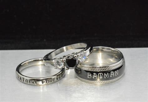 wedding band set his and hers and batgirl forever rings black cz and