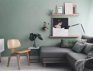 Canapé Vert D Eau : d co salon mur couleur vert pastel canap gris deco salon moderne aux lignes pur es ~ Teatrodelosmanantiales.com Idées de Décoration