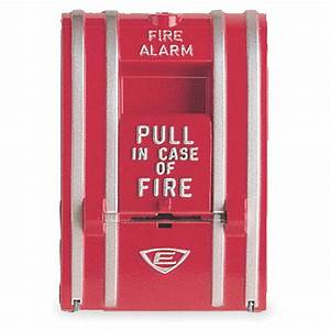 Edwards Signaling Fire Alarm Pull Station Red L 3 1  8 In