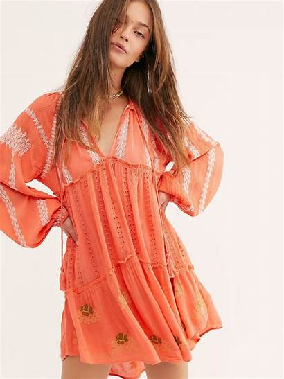 Mini Wild Horses Embroidered Dresses Coral