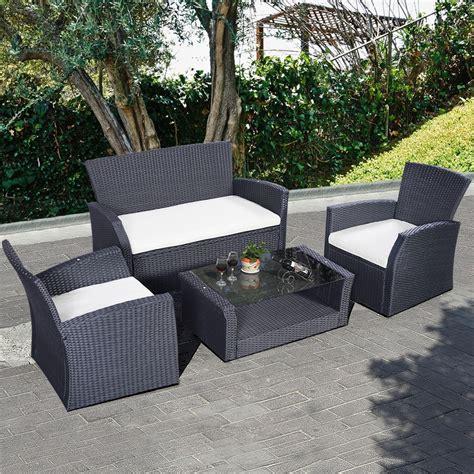 4 pcs luxury rattan sofa dining set garden furniture patio