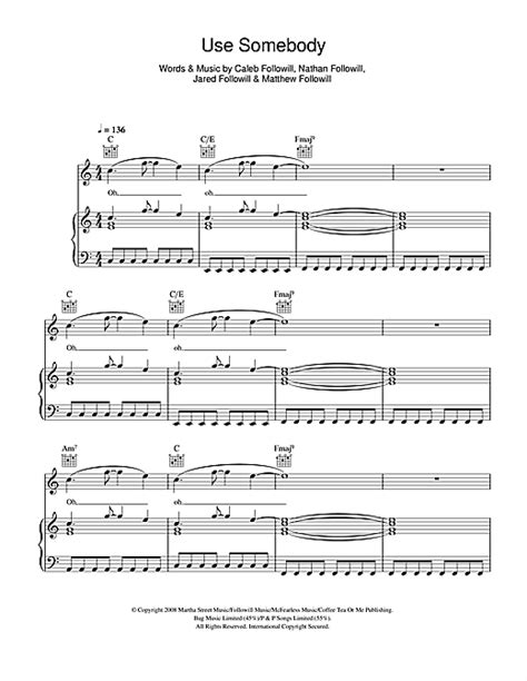 use somebody sheet music by kings of leon piano vocal