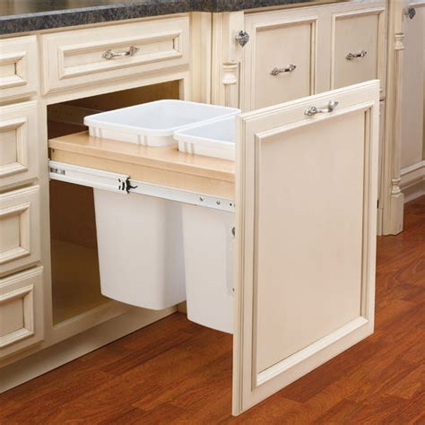 pull out garbage cabinet rev a shelf double pull out waste bins for framed cabinet