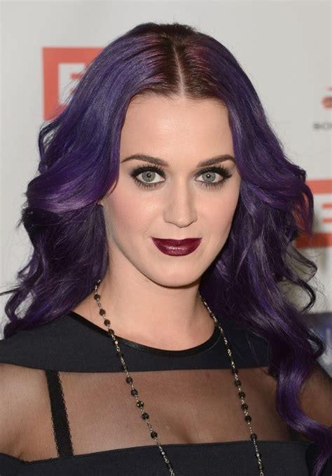 katy perry long wavy purple hairstyle hairstyles weekly