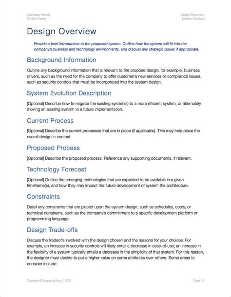 Design Document Template Design Document Template Apple Iwork Pages