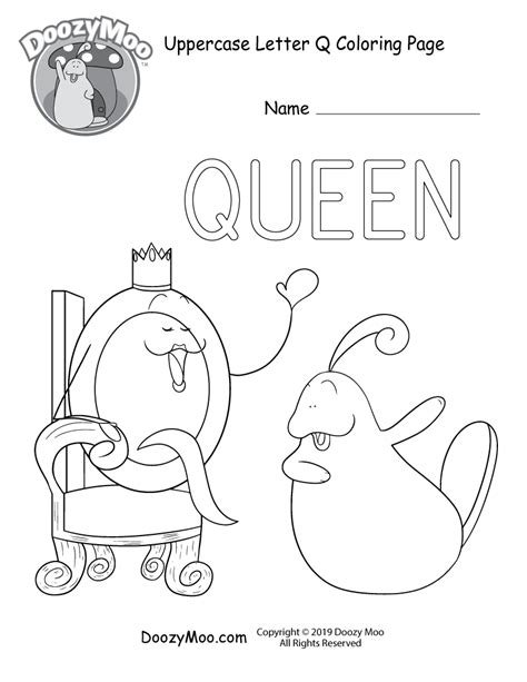 Cute Uppercase Letter Q Coloring Page (Free Printable ...
