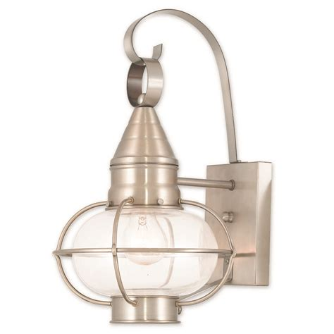 livex lighting newburyport brushed nickel outdoor wall