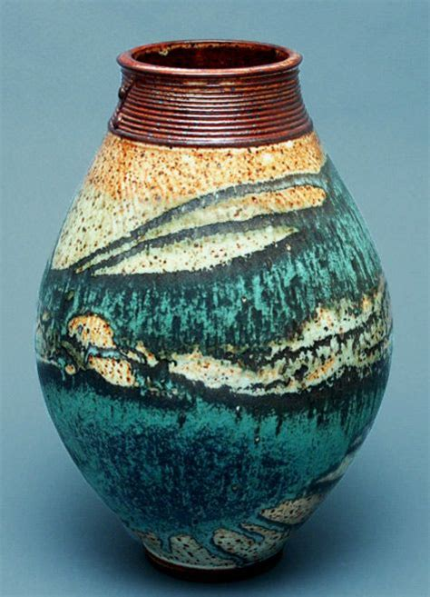 wheel thrown stoneware flower ikebana vase  shino