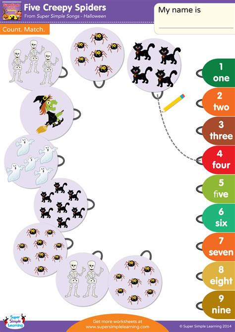 creepy spiders worksheet count match super simple