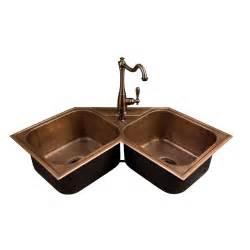 Double Bowl Corner Sink hammered copper double bowl drop in corner sink kitchen