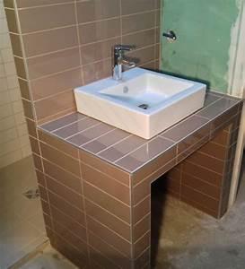 meuble salle de bain carrele With salle de bain carrele