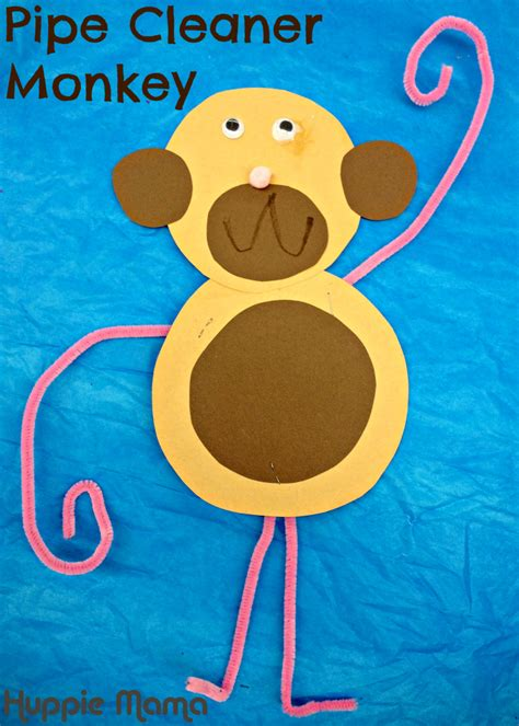 10 zoo animal preschool crafts our potluck family 252 | pipe cleaner monkey 731x1024