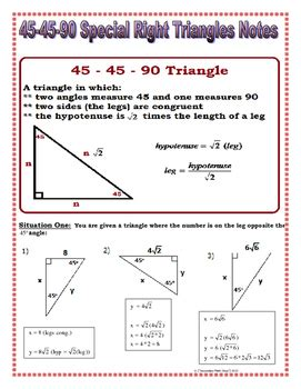 Right Triangles  45 45 90 Special Right Triangles Notes And Practice