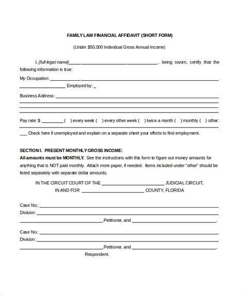 sample affidavit form   documents