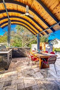 Patio With Modern Steel Roof and Outdoor Fireplace   HGTV ...