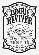 Halloween Labels Apothecary Label Zombie Coloring Potion Sauce Bottle Turn Embroidery Template Chili Bottles Designs Adult Spooky Visit Reviver Field sketch template