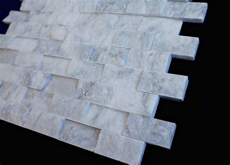 white marble brick tiles italian white carrara marble 1 quot x 2 quot brick pattern splitface mosaic tile