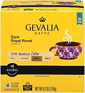 We provide the perfect care for the perfect cup. Gevalia Single Service Coffee Pods for Keurig/K-Cup Pods Brewers Dark Royal Roast,18 count ...