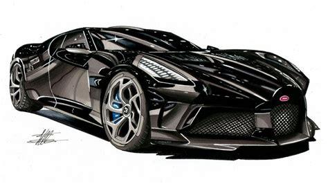 realistic car drawing bugatti la voiture noire time
