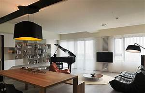Taiwanese modern interior design keribrownhomes for Table lamp next to tv
