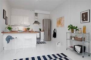 small one room apartment showcasing an ingenious layout With interior design ideas 1 room kitchen flat