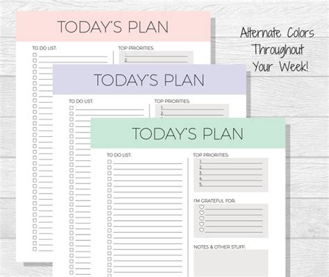 daily planner printable todays plan daily schedule