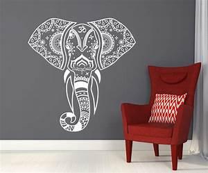 Mandala elephant wall decals hippie decal yoga vinyl for Elephant wall art