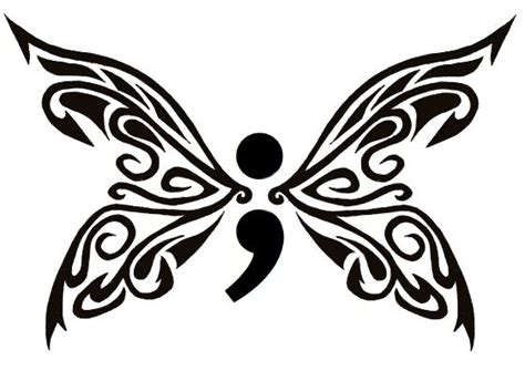 semicolon butterfly front tattoo ideas butte