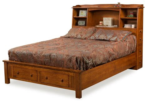 bed with bookcase footboard amish bookcase bed with storage footboard from