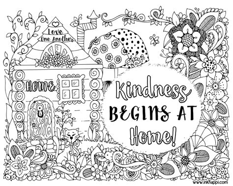 kindness begins  home  coloring page   message inkhappi