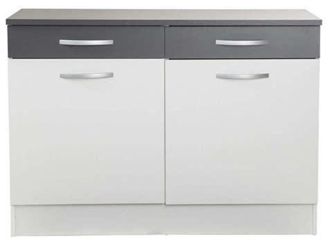 meuble bas de cuisine conforama meuble bas 120 cm 2 portes 2 tiroirs woody gris
