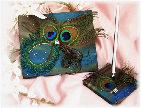 peacock feathers wedding guest book   set teal