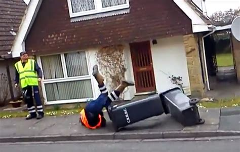 Bin Man Fails To Jump Over Two Rubbish Containers, And It