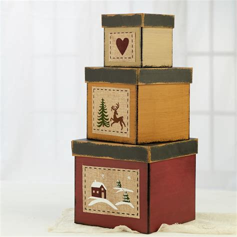 primitive wintry christmas nesting box set decorative