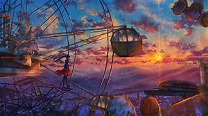 anime, ferris, wheel, painting, , hd, anime, , 4k, wallpapers, , images, , backgrounds, , photos, and, pictures