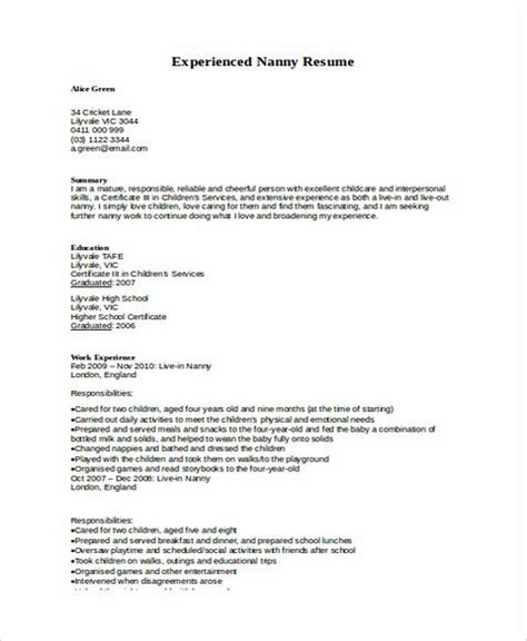 all things you should know about nanny resume