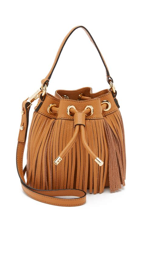 lyst milly essex small fringe bucket bag  brown