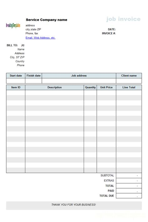 Free Templates Work Invoice Template Pdf Invoice Exle