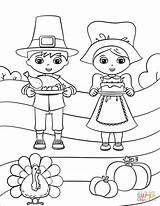 Coloring Boy Pages Pilgrim Cute Printable Drawing sketch template
