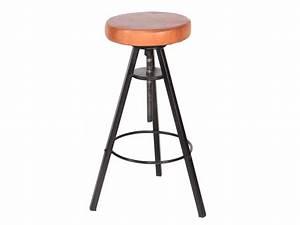 Tabouret De Bar Cuir : tabouret de bar industriel assise cuir atelier grey ~ Teatrodelosmanantiales.com Idées de Décoration