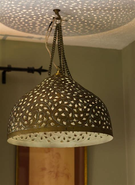 moroccan punched metal l kasbah punched metal pendant light pre owned moroccan