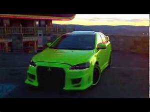 Lancer Evo Lime Green Vinyl Wrap w Body Kit and LED LIghts