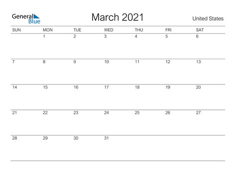march  calendar united states