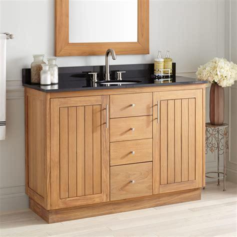 narrow depth montara teak vanity  undermount sink