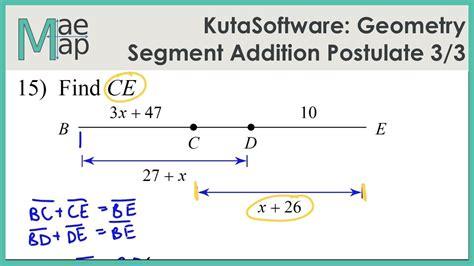 Kutasoftware Geometry Segment Addition Postulate Part 3 Youtube