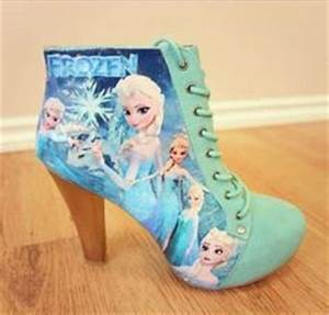 frozen elsa high heels shoes for girls kids real glass ...